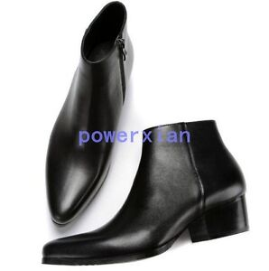 Mens-Ankle-Boots-Leather-Pointed-Toe-HOT-British-Casual-Zipper-Chunky-Heel-Shoes