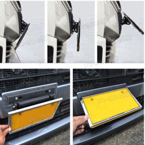 Universal Car Carbon Fiber Look License Plate Frame Adjust Angle Mount Bracket