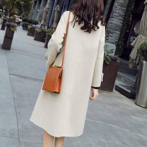 Womens Wool Lapel Trench Long Coat Double Breasted Pea Overcoat Jacket Outwear