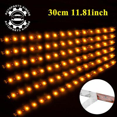 4x 30cm Orange Amber Waterproof 15 LED Flexible Car Grill Strip Light Lamp Bulb