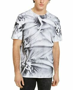 Guess-Mens-T-Shirt-Black-White-Size-Small-S-Crinkle-Spray-Tee-Crewneck-39-204