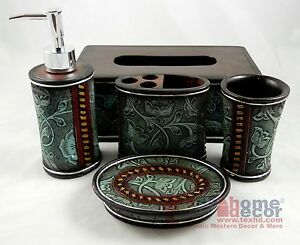 rustic western floral turquoise bathroom accessory set 5