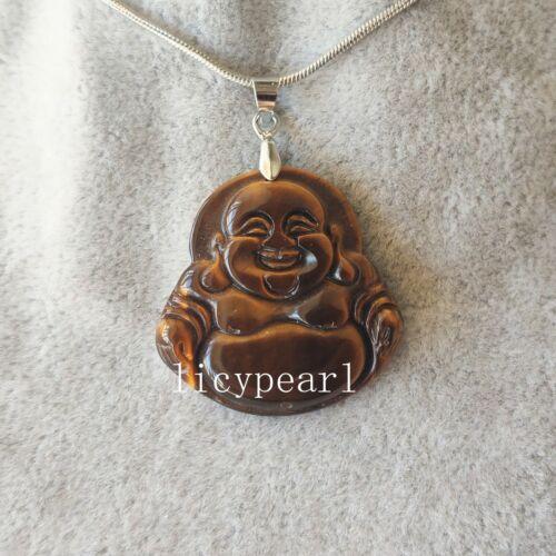 Tigerauge Stein Anhänger glücklich Buddha Anhänger