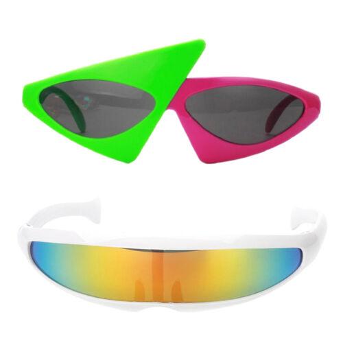 2pcs Sunglasses Futuristic Narrow Party Glasses Eyewear Adult Kids