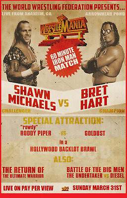 Wrestlemania 12 Bret Hart & Shawn Michaels Wrestling Glossy Art ...