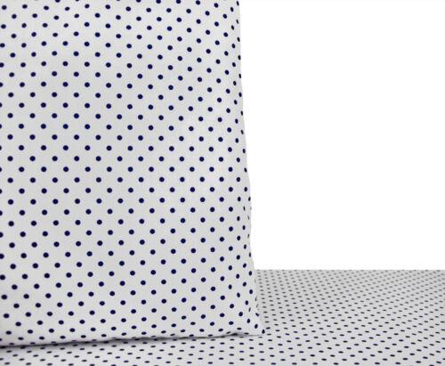 6,40 €//m 50cm STOFF BAUMWOLLE Dekostoff dunkelblau gepunktet getupft weiß