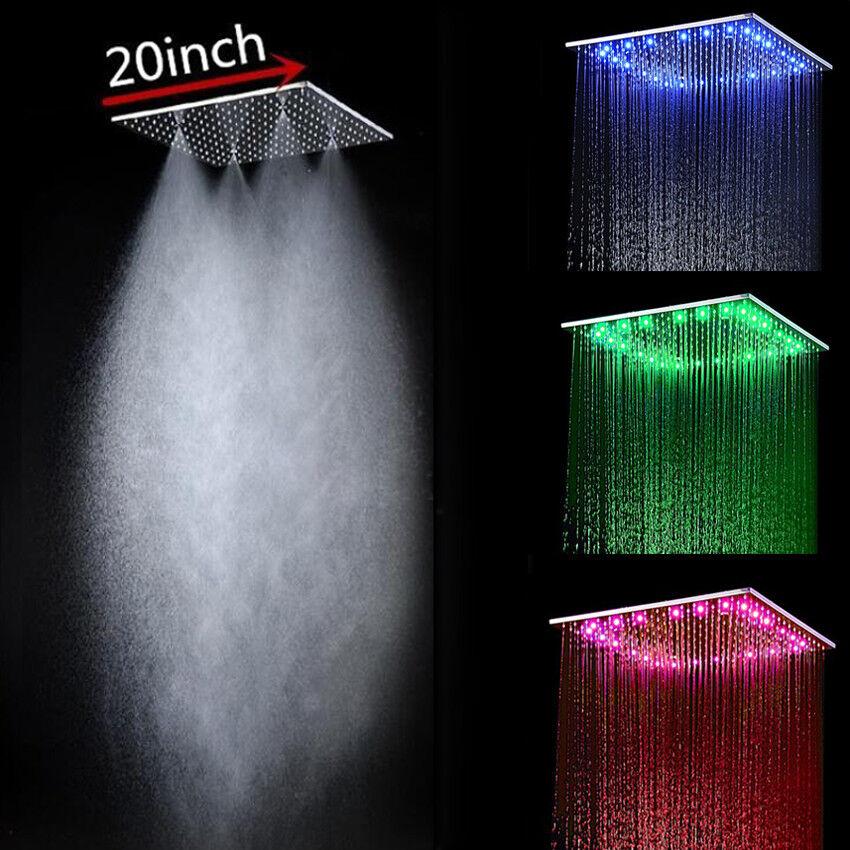 Factory Supply 20 in (environ 50.80 cm) Misty Tête de Douche Acier Inoxydable 304 Brouillard DEL tête de douche