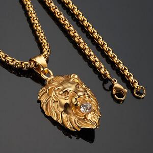 Mens 18k real gold filled lion head pendant necklace chain hip hop image is loading men 039 s 18k real gold filled lion aloadofball Choice Image