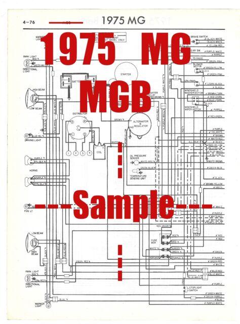 1975 Mg Mgb Full Car Wiring Diagram  High Quality Printed