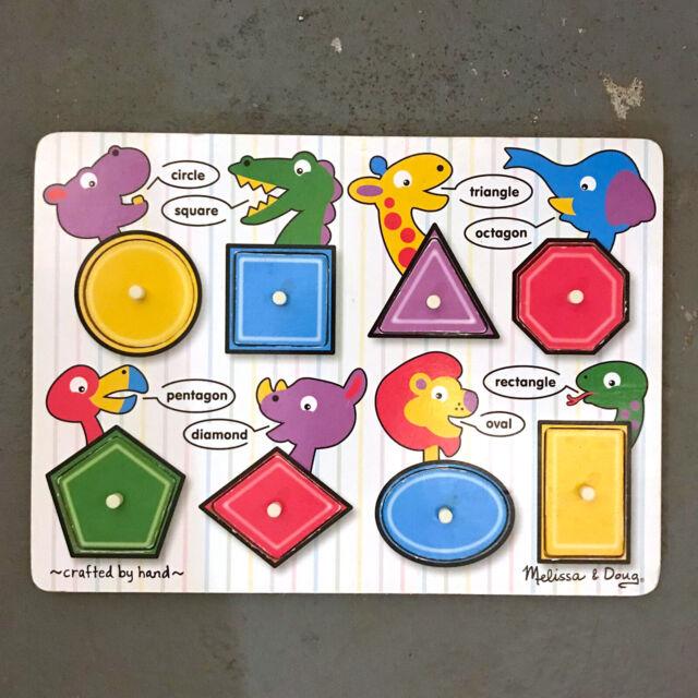 Melissa & Doug Fresh Start Peg Puzzles - Shapes #3285 ...