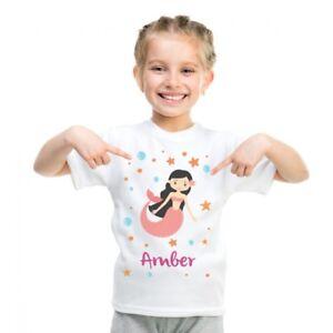 Personalised-Name-T-Shirts-Kids-Tee-Printed-Children-039-s-Mermaid-Boys-Girls-Custom
