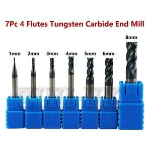 7Pcs 1-8MM 4 Flutes End Mill HRC50 Carbide Tungsten Milling Cutter Set CNC Tool