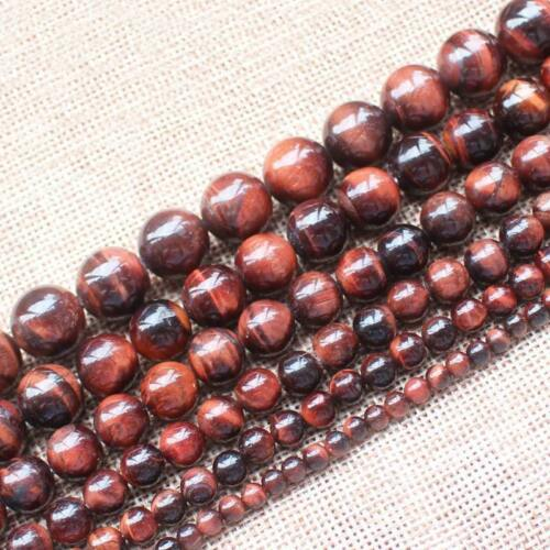 6//8//10mm naturel rouge African Roar Tiger/'s Eye Gemstone Round Loose Beads 15/""