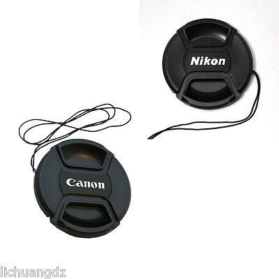 50 PCS Center Pinch Front Lens Cap 49 52 55 58 62 67 72 77 82mm For Canon Nikon