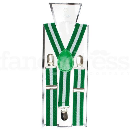 Green White Striped Adjustable Braces St Patricks Paddys Day Ireland Irish NEW