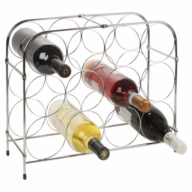 Chrome Silver Metal 3 Tier Wine Rack Bottle Holder Display Holds 12