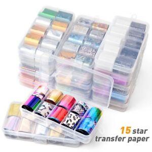 10Pcs-Holographic-Nail-Foil-Transparent-Starry-Sky-Nail-Art-Transfer-Sticker-New