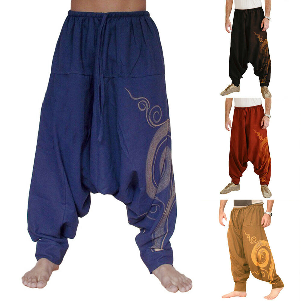 Men Casual Harem Pants Summer Yoga Baggy Aladdin Hippie Spiral Trousers Well Clothing, Shoes & Accessories