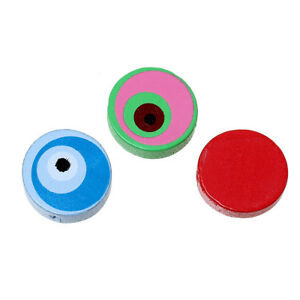 50-Stueck-Holzperlen-Rund-Bunt-Mix-20-mm-Perlen-Schnullerketten-Basteln-Holz-Diy