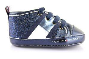 best sneakers c56cd 86f3c Details zu Tommy Hilfiger Babyschuhe Baby Halbschuhe Glitzer Schnürschuhe  Schuhe Blau 18