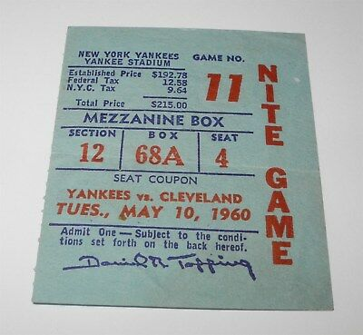 Brilliant 1960 Yankees Indians Ticket Stub Jim Piersall Elston Howard Home Runs 9/19/59 Sports Mem, Cards & Fan Shop
