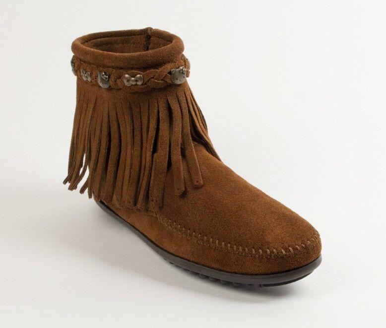 Minnetonka Fringe Side Zip Boots 693 Women'S Brown Suede Hello Kitty®