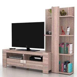Mobile porta tv con libreria salotto lisburn t728 mdf for Salotto con tv