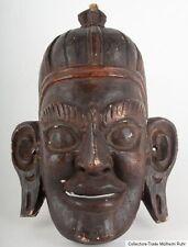 Tibet 19. JH. máscara-Tibetan Wood Mask carved & painted Wood-Masque tibétain