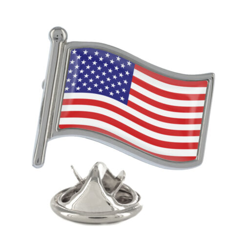 USA Wavy Flag Pin Badge American States Stars and Stripes New /& Exclusive