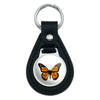 Monarch Butterfly Black Leather Keychain
