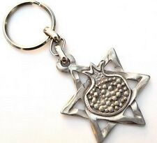 LOT 3 STAR OF DAVID & POMEGRANATE KEYCHAINS Jewish New Year Holiday Judaica Gift