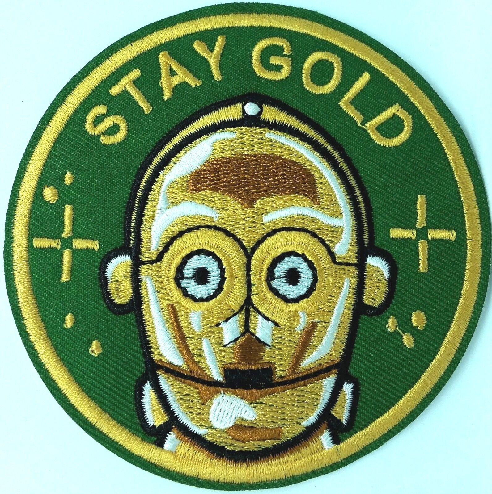 """C-3PO STAR WARS /""""STAY GOLD/""""  IRON ON EMBROIDERED PATCH"""