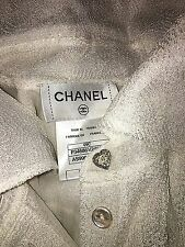 New Chanel Ivory off white lace tunic pleated textured top blouse 38 S M