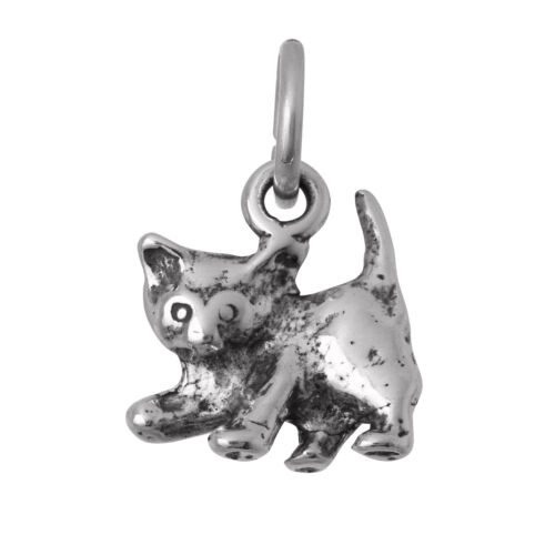 TheCharmWorks 925 Sterling Silver Playful Kitten Charm