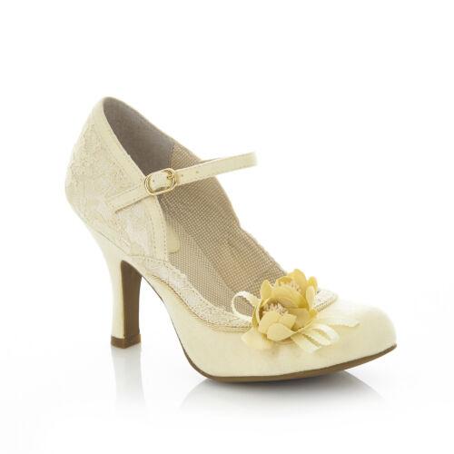 Ruby Shoo Silvia Mary Jane Shoes UK 3-9  Fuchsia Lemon Lace Navy Floral