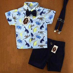 Toddler-Kids-Baby-Boys-Summer-Dinosaur-Tops-T-shirt-Pants-Shorts-Outfits-Sets