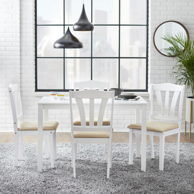 Pleasing Dining Set 5 Piece Chairs Table Upholstered Home Room Furniture White Alphanode Cool Chair Designs And Ideas Alphanodeonline