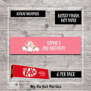 Kit Kat wrappers-Design 6 6 Personnalisé licorne fête d/'anniversaire