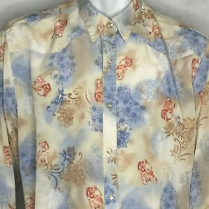 Vintage-Wrangler-Pearl-Snap-Shirt-Blouse-Sz-L-Western-Rodeo-Cowgirl-Blue-Top