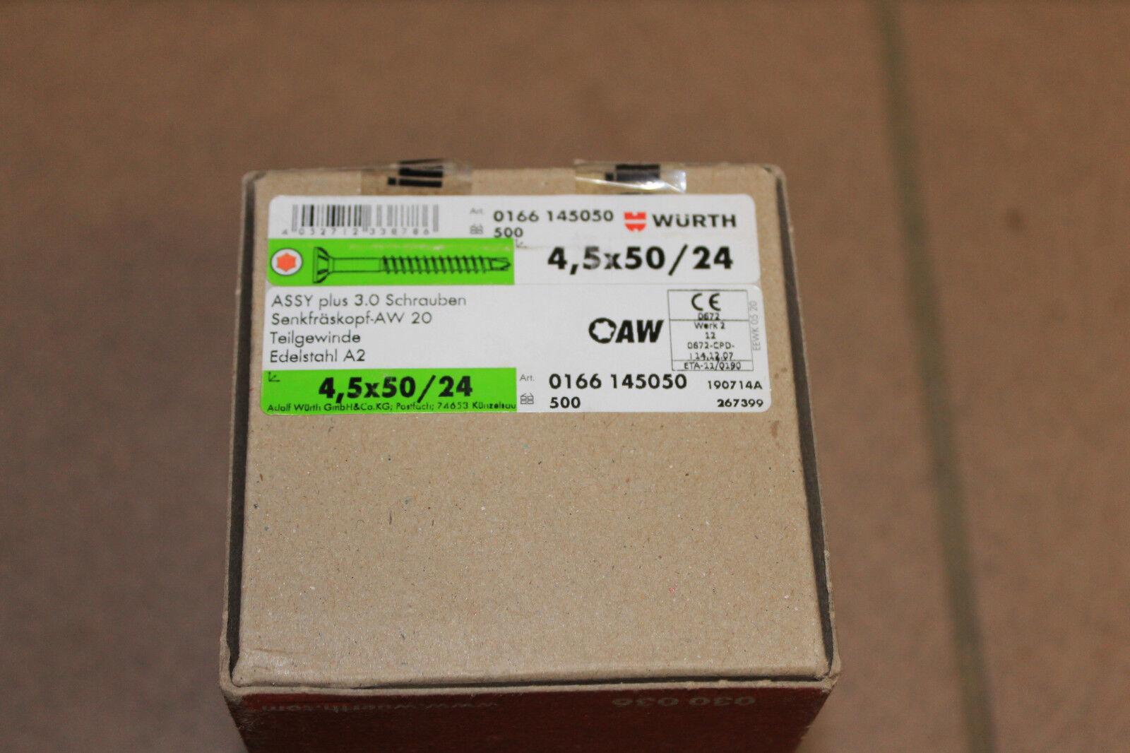 Würth ASSY PLUS 3.0 A2 500 Edelstahlschrauben mit Bohrspitze 4,5x50/24