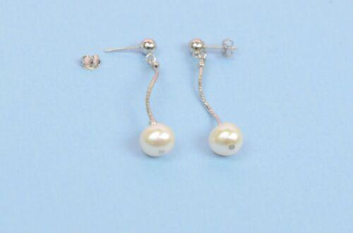 Necklace//Bracelet//Earrings * 14k White Gold Charming Genuine White Pearls Set