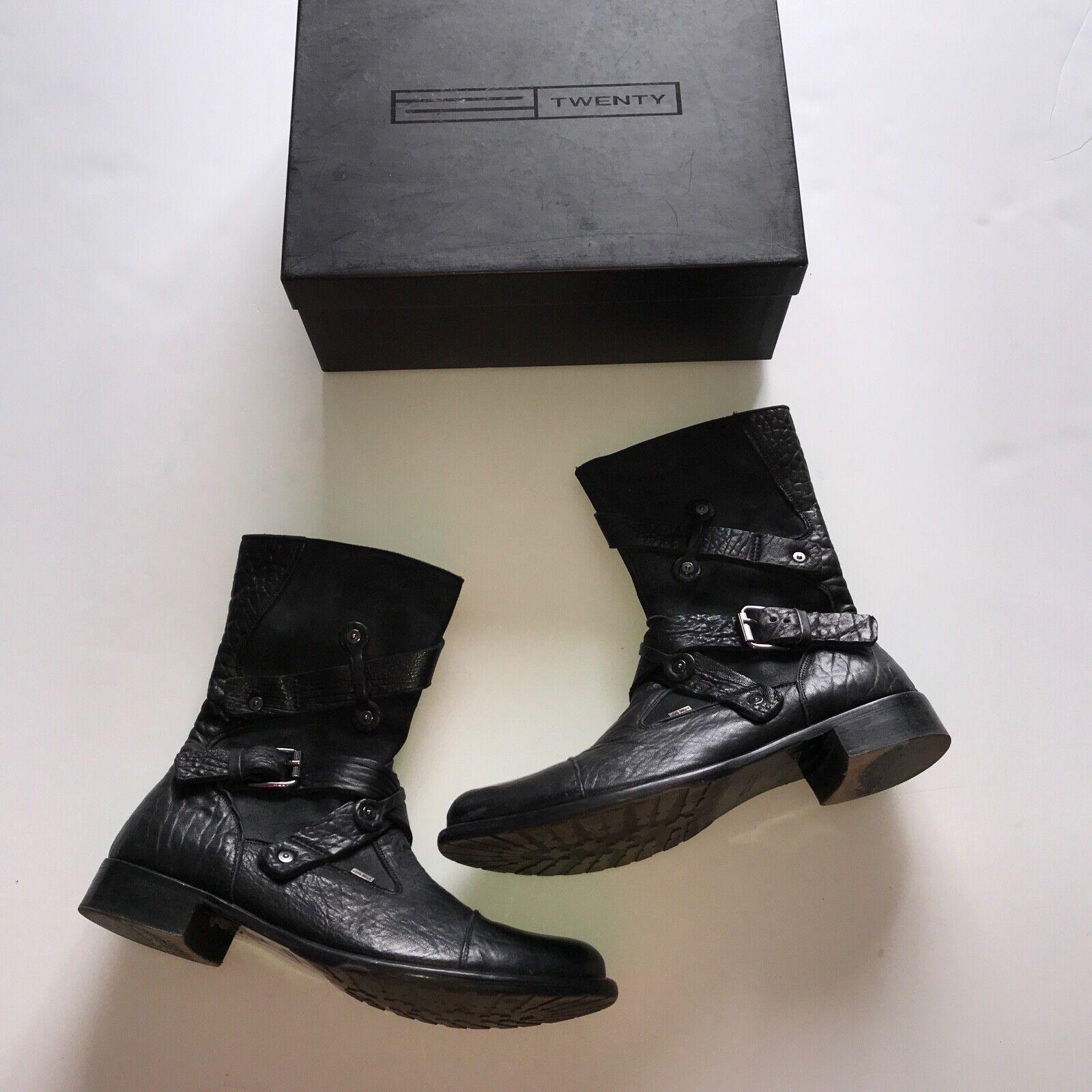 Twenty Men's Solid Black Artico black Leather Suede Zip Up Combat Boots shoes 10