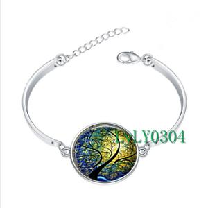 Willow vent et soleil verre cabochon Tibet Silver Bangle Bracelets Fashion