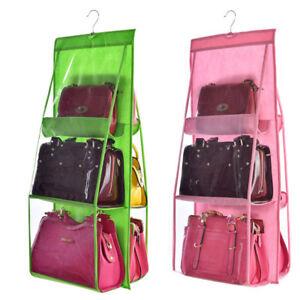 Image Is Loading 6 Pocket Clear Hanging Purse Handbag Tote Bag