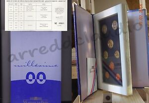 FRANCIA-FRANCE-COFFRET-SET-SERIE-2000-8-VALORI-FONDO-SPECCHIO-PROOF