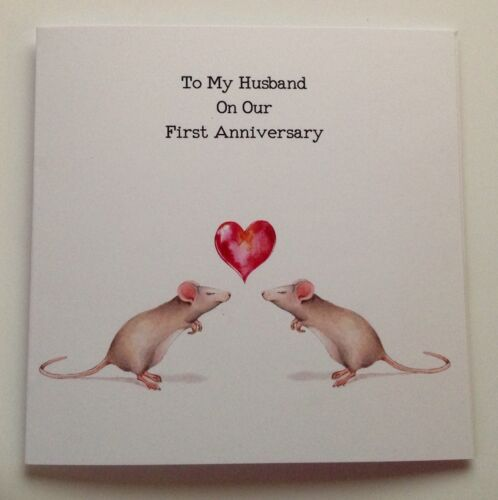Birthday Card 1st 2nd Husband Wife Mice Rats Personalised Wedding Anniversary