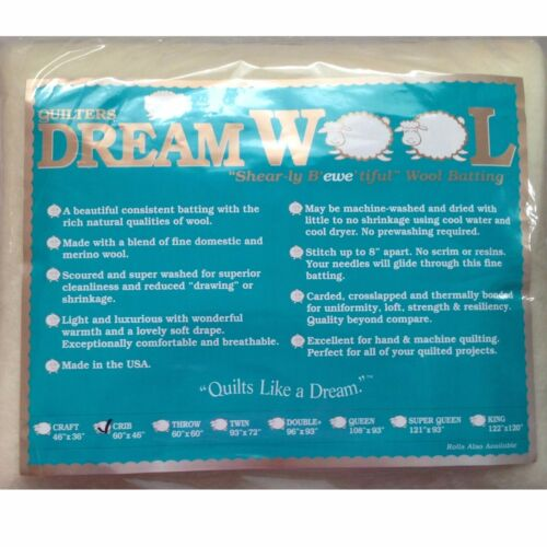 "Quilters Dream Crib Wool Quilt Batting 60/"" x 46/"""