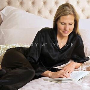 Black-Satin-Pyjamas-Sz-Large-Silk-Feel-Luxury-Lingerie-Sleepwear-Pants-Shirt-PJs