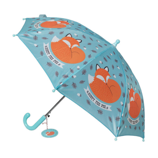 dotcomgiftshop CHILDRENS UMBRELLA RUSTY THE FOX DESIGN. KIDS GIRLS BOYS BROLLY