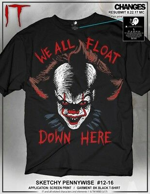 e3a9f5ada07f Details about It Pennywise Sketchy Clown We All Float Down Here Adult Mens T  Tee Shirt 12-16